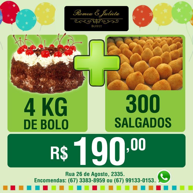 4kg de bolo + 300 salgadinhos por apenas R$ 190,00