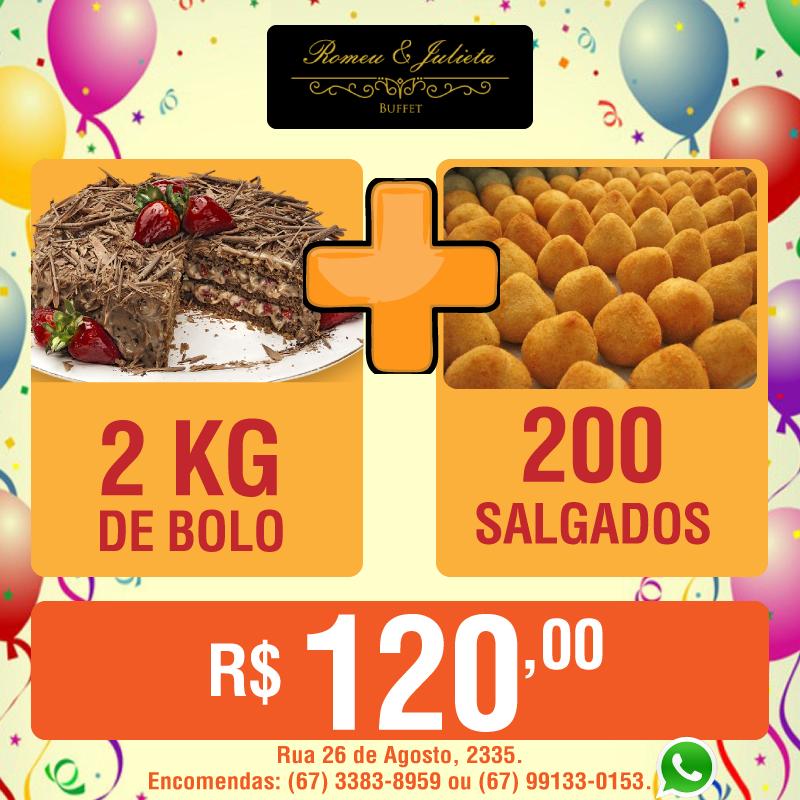 2 kg de bolo + 200 salgadinhos por apenas R$ 120,00