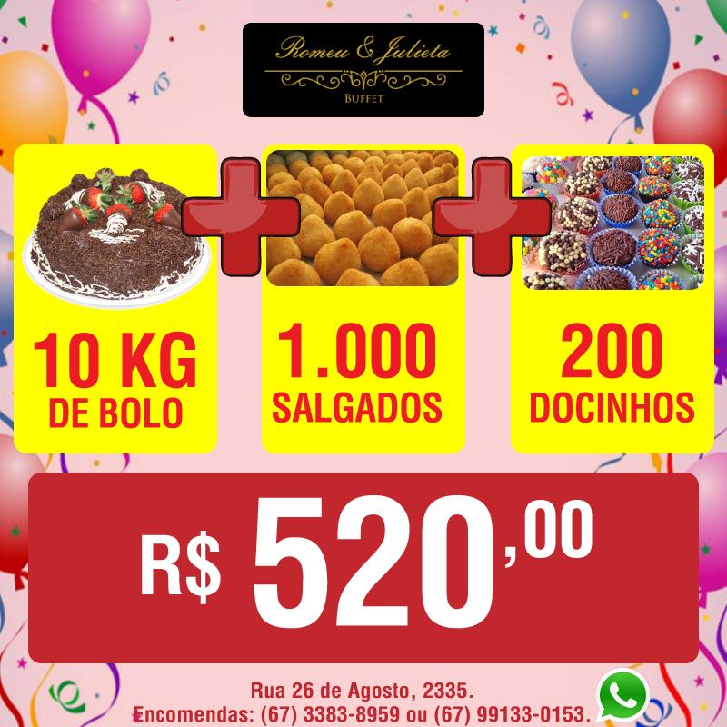 10 kg de bolo + 1.000 salgadinhos + 200 docinhos por apenas R$ 520,00