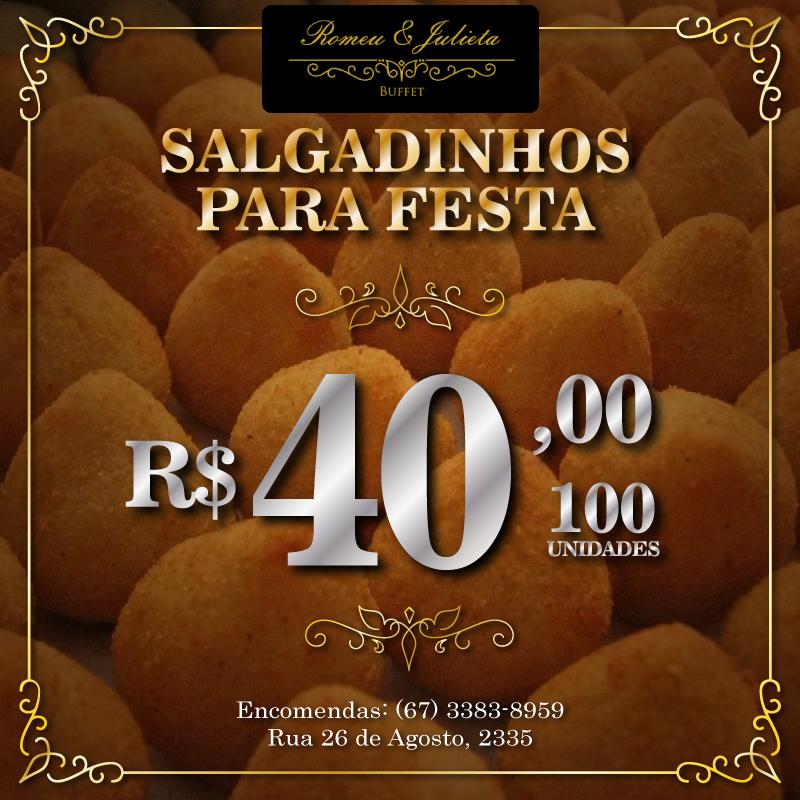 100 unidades de salgadinhos para festa por apenas R$ 40,00. Encomendas: (67) 3383-8959